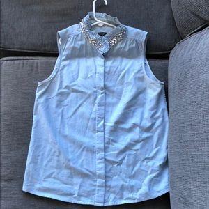 Sleeveless JCrew embellished collar